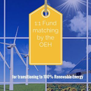 Fund matching by the OEH for organisations wanting to transition to 100% renewable energy