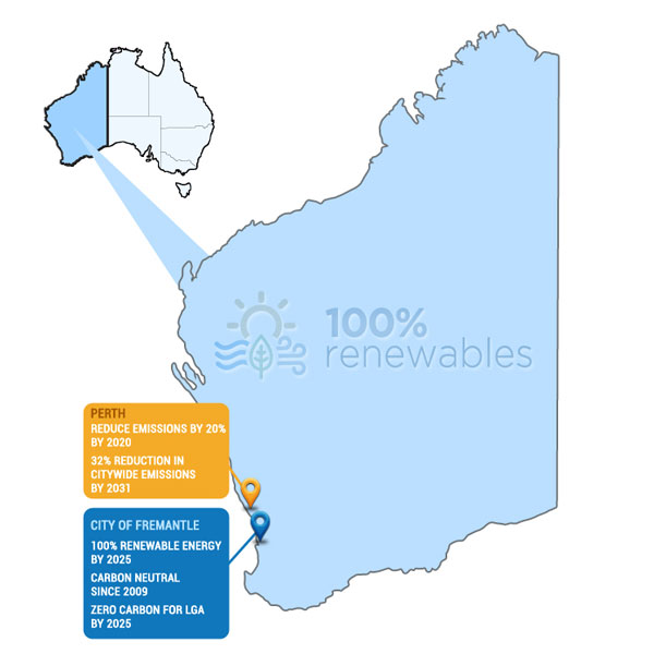 Ambitious renewable energy and carbon commitments by local governments in WA as at Oct 18